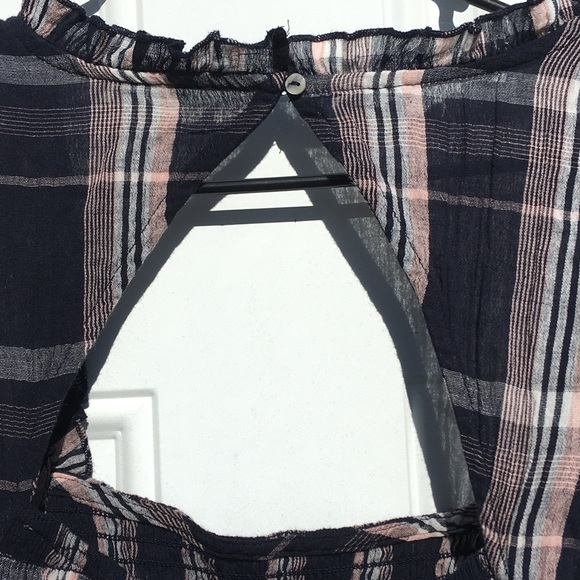 Free People Nicole Smocked Plaid Top Check Square Neck Crop Blouse Large L Red